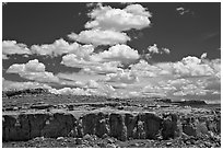 Cliff and clouds. Chaco Culture National Historic Park, New Mexico, USA ( black and white)