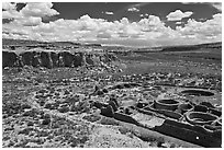 Chetro Ketl and Chaco Canyon. Chaco Culture National Historic Park, New Mexico, USA ( black and white)