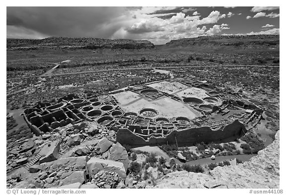 Ancient pueblo complex layout seen from above. Chaco Culture National Historic Park, New Mexico, USA (black and white)