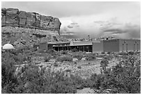 Visitor center. Chaco Culture National Historic Park, New Mexico, USA ( black and white)