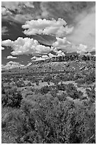 Canyon floor, cliffs, and clouds. Chaco Culture National Historic Park, New Mexico, USA (black and white)