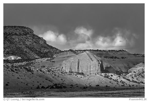 Red cliffs and dark sky. New Mexico, USA (black and white)