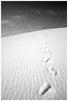 Footprints. White Sands National Monument, New Mexico, USA ( black and white)
