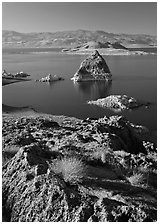 Shoreline and Pyramid. Pyramid Lake, Nevada, USA (black and white)