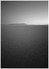 Flat playa with thin mud cracks, Black Rock Desert. Nevada, USA (black and white)