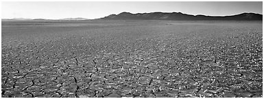 Dry lake bed landscape. Nevada, USA (Panoramic black and white)