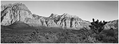 Desert cliffs. Red Rock Canyon, Nevada, USA (Panoramic black and white)