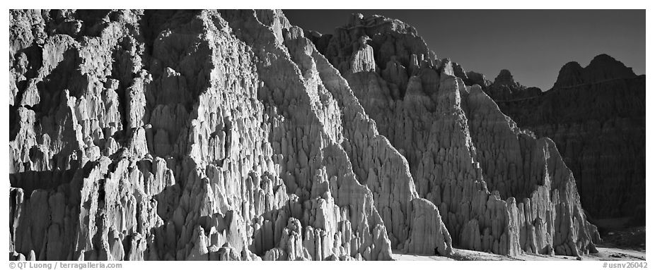 Desert erosion formations. Nevada, USA (black and white)