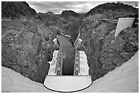 Dam, power plant and Black Canyon. Hoover Dam, Nevada and Arizona ( black and white)