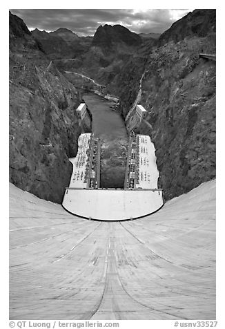 Power plant, Black Canyon, Colorado River. Hoover Dam, Nevada and Arizona (black and white)