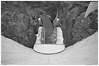 View from above of wall and power plant. Hoover Dam, Nevada and Arizona (black and white)