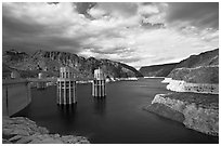 Reservoir and intake towers. Hoover Dam, Nevada and Arizona ( black and white)