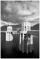 Intake towers. Hoover Dam, Nevada and Arizona ( black and white)