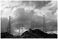 High-voltate transmission lines and clouds. Hoover Dam, Nevada and Arizona ( black and white)