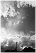 Power lines and clouds. Hoover Dam, Nevada and Arizona ( black and white)