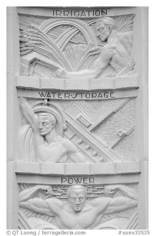 Detail of bas-relief  celebrating benefits of the dam, Hoover Dam. Hoover Dam, Nevada and Arizona (black and white)