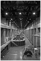Nevada generator room. Hoover Dam, Nevada and Arizona (black and white)