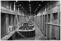 Generator gallery on the Nevada side. Hoover Dam, Nevada and Arizona ( black and white)