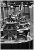 Row of electrical generators. Hoover Dam, Nevada and Arizona (black and white)