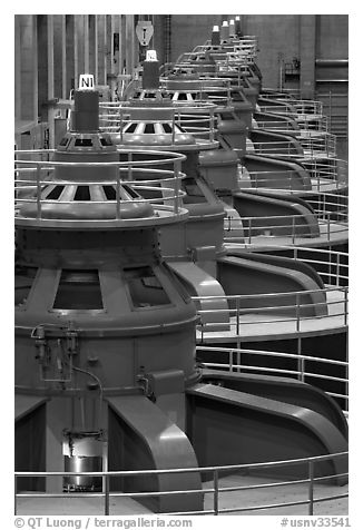 Electrical generators in power plant. Hoover Dam, Nevada and Arizona (black and white)