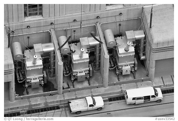 Transformers on  ramp outside the power plant. Hoover Dam, Nevada and Arizona (black and white)