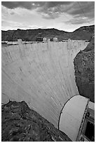 Profile view of arch-gravity dam. Hoover Dam, Nevada and Arizona ( black and white)