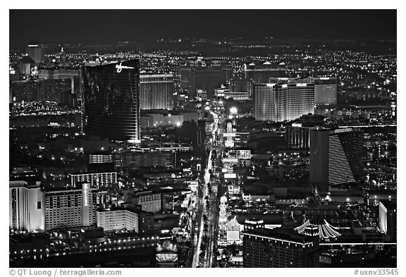 The Strip at night seen from above. Las Vegas, Nevada, USA (black and white)