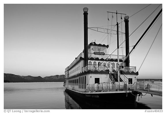 Tahoe Queen paddle boat at dawn, South Lake Tahoe, Nevada. USA (black and white)