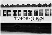 Side of Tahoe Queen boat with mountains seen through, South Lake Tahoe, Nevada. USA (black and white)