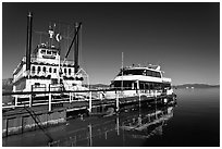 Tour boats, South Lake Tahoe, Nevada. USA (black and white)