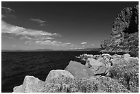 Cave Rock, East shore, Lake Tahoe, Nevada. USA ( black and white)