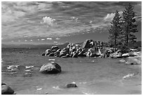 Beach and rocks, Lake Tahoe-Nevada State Park, Nevada. USA ( black and white)