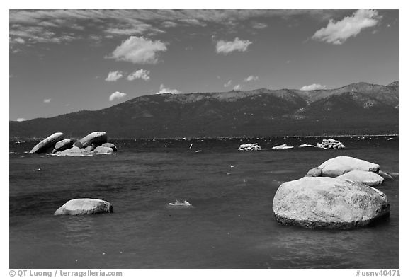 Boulders, Sand Harbor, Lake Tahoe-Nevada State Park, Nevada. USA (black and white)