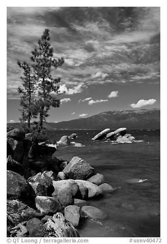 Shore with boulders, Sand Harbor, Lake Tahoe-Nevada State Park, Nevada. USA (black and white)