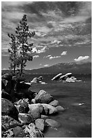 Shore with boulders, Sand Harbor, Lake Tahoe-Nevada State Park, Nevada. USA ( black and white)