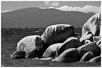 Boulders, lake, and mountains, Lake Tahoe-Nevada State Park, Nevada. USA ( black and white)