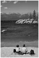 Couple on sandy beach, Lake Tahoe-Nevada State Park, Nevada. USA (black and white)