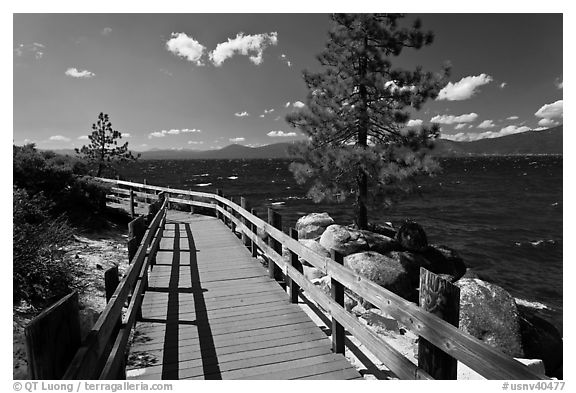 Boardwalk by lake, Sand Harbor, East Shore, Lake Tahoe, Nevada. USA