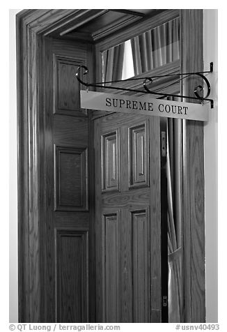 Door to Nevada Supreme court. Carson City, Nevada, USA (black and white)