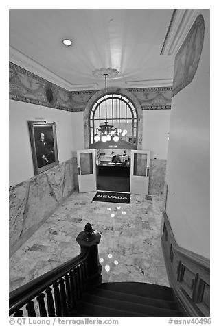 Office of the governor seen from staircase inside Nevada State Capitol. Carson City, Nevada, USA