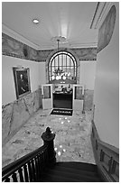 Office of the governor seen from staircase inside Nevada State Capitol. Carson City, Nevada, USA (black and white)