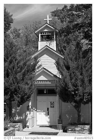 Church. Genoa, Nevada, USA (black and white)