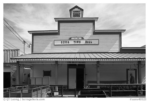 Genoa town hall. Genoa, Nevada, USA (black and white)
