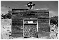 Wooden shack. Virginia City, Nevada, USA (black and white)