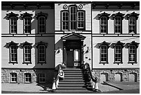 Historic fourth ward school facade. Virginia City, Nevada, USA ( black and white)
