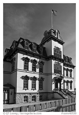 Historic fourth ward school building. Virginia City, Nevada, USA (black and white)