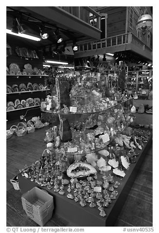Inside rock shop. Virginia City, Nevada, USA (black and white)