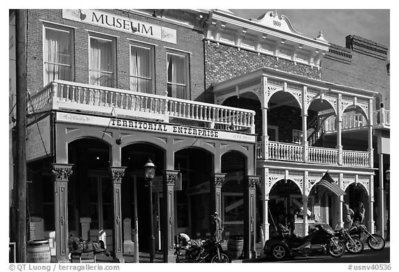 Territorial enterprise historical building. Virginia City, Nevada, USA (black and white)
