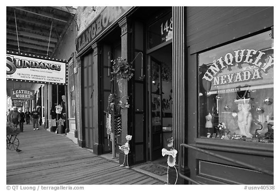 Gallery with souvenir shop. Virginia City, Nevada, USA