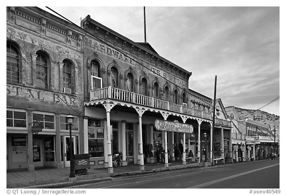 Black and white picture photo historic buildings virginia city nevada usa